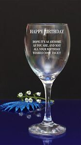 Image Is Loading Personalised Happy Birthday Engraved Wine Glass Wishes