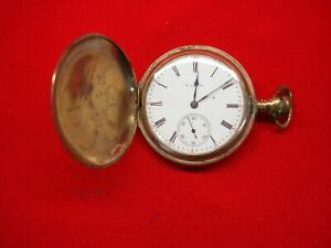 VINTAGE-ELGIN-HUNT-CASE-POCKET-WATCH-WELL-TRAVELED-WATCH-FOR-PARTS-OR-RESTORE