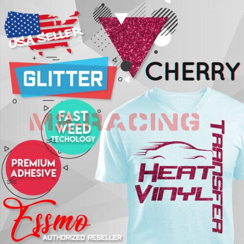 "Cherry Glitter Heat Transfer Vinyl HTV T-Shirt 20/"" Wide Iron on Heat Press DG11"