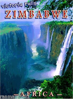 Victoria Falls Zimbabwe Africa African Pride Travel Art Poster Advertisement Ebay