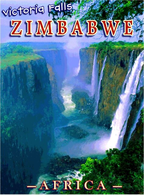 Victoria Falls Zimbabwe Africa African Original Travel Art Poster by ShaynaMar