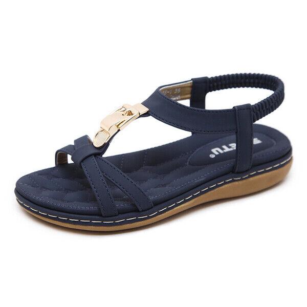 Sandalen flachem absatz elegant komfortabel dunkelblau simil leder grundstück
