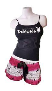1243165781cb Playboy Pajamas 2 Piece PJ Set Cotton Cami Top Shorts Bottom ...