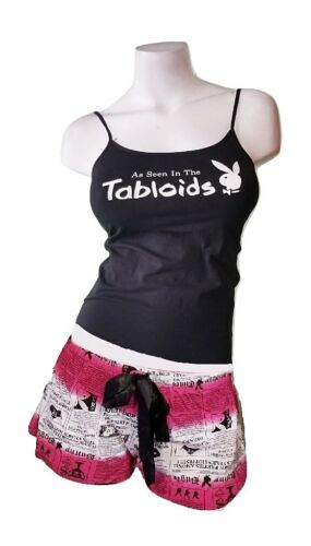 Playboy Pajamas 2 Piece PJ Set Cotton Cami Top Shorts Bottom Black Paparazzi Lrg