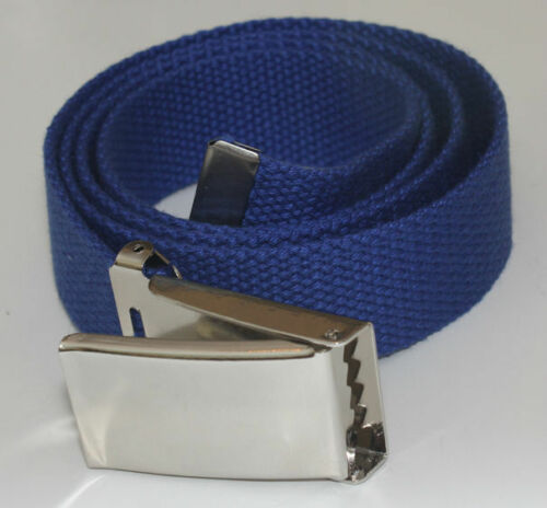 "NEW FLIPTOP ADJUSTABLE 54/"" INCH CBLT BLUE MILITARY WEB CANVAS CHROME BELT BUCKLE"