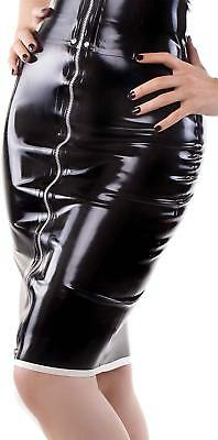 Westward Bound Piped Zip Front Latex Pencil Skirt Black With Warm White Trim