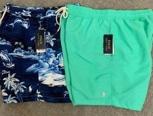Polo-Ralph-Lauren-Mens-Classics-Swimsuit-Swim-Shorts-Trunk-Blue-Floral-Green-New