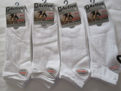 """SIZE 11-14  FREE POST TO UK BNWT 12 BIG FOOT/""""ACTIVE SPORT/"""" WHITE TRAINER SOCKS"""