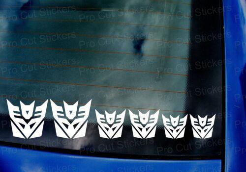 Decepticons Transformers Stickers Decals Set x6 fenêtre pare-chocs Mur Art Graphique
