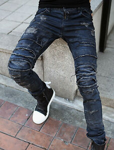 Mens Unique Stylish Hard Damaged Ripped Denim Slim Blue Jeans ...