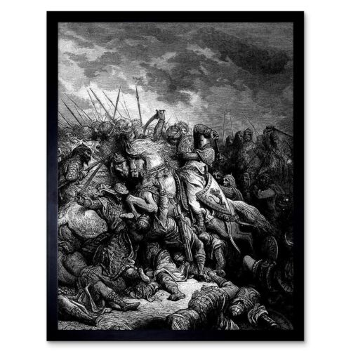 Gustave Dore Richard me Lionheart batalla Arsuf 1191 12X16 pulgadas impresión arte enmarcado