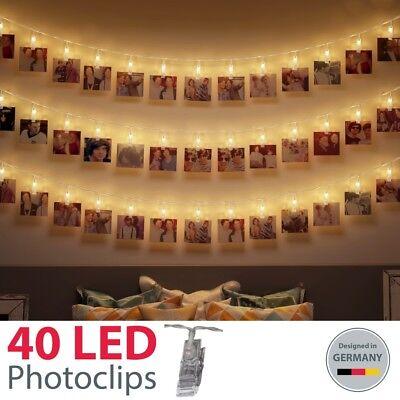LED Foto-Lichterkette 40 Clips Klammern Photo-Klipp String Light Stimmungs-Licht