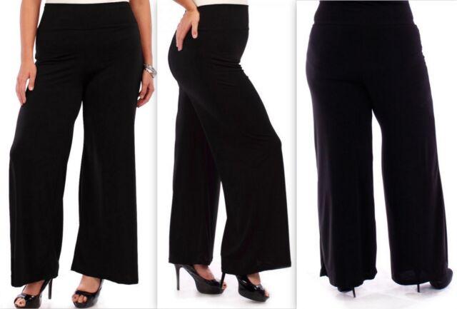 Women/'s Slinky Stretch Elastic Waist Black Long Pants Made In USA S-3X Plus Size