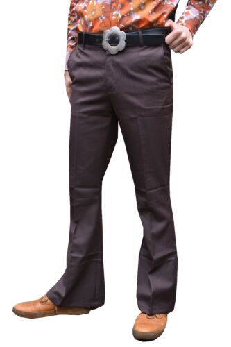 Nuovo da Uomo a Campana Flares Jeans Svasato Vintage Anni /'60 70 Indie Pantaloni