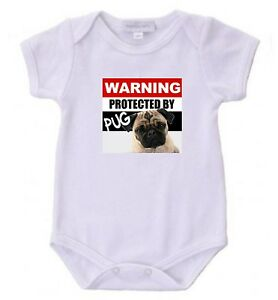 Protected by Pug Baby Bodysuit Cute New Gift Choose Size & Color