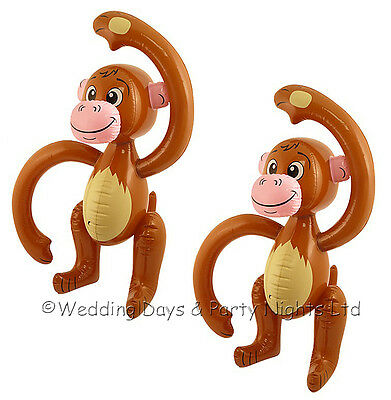 2 x 58cm Inflatable Monkey Hawaiian Tropical Jungle Zoo Animal Party Decoration