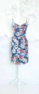 J-Crew-Floral-Sheath-Dress-Women-039-s-14-Blue-Red-Sleeveless-Party-Cocktail