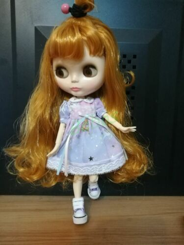 Blythe Nude Doll from Factory Jointed Body Ginger Long Curly Hair With Bang