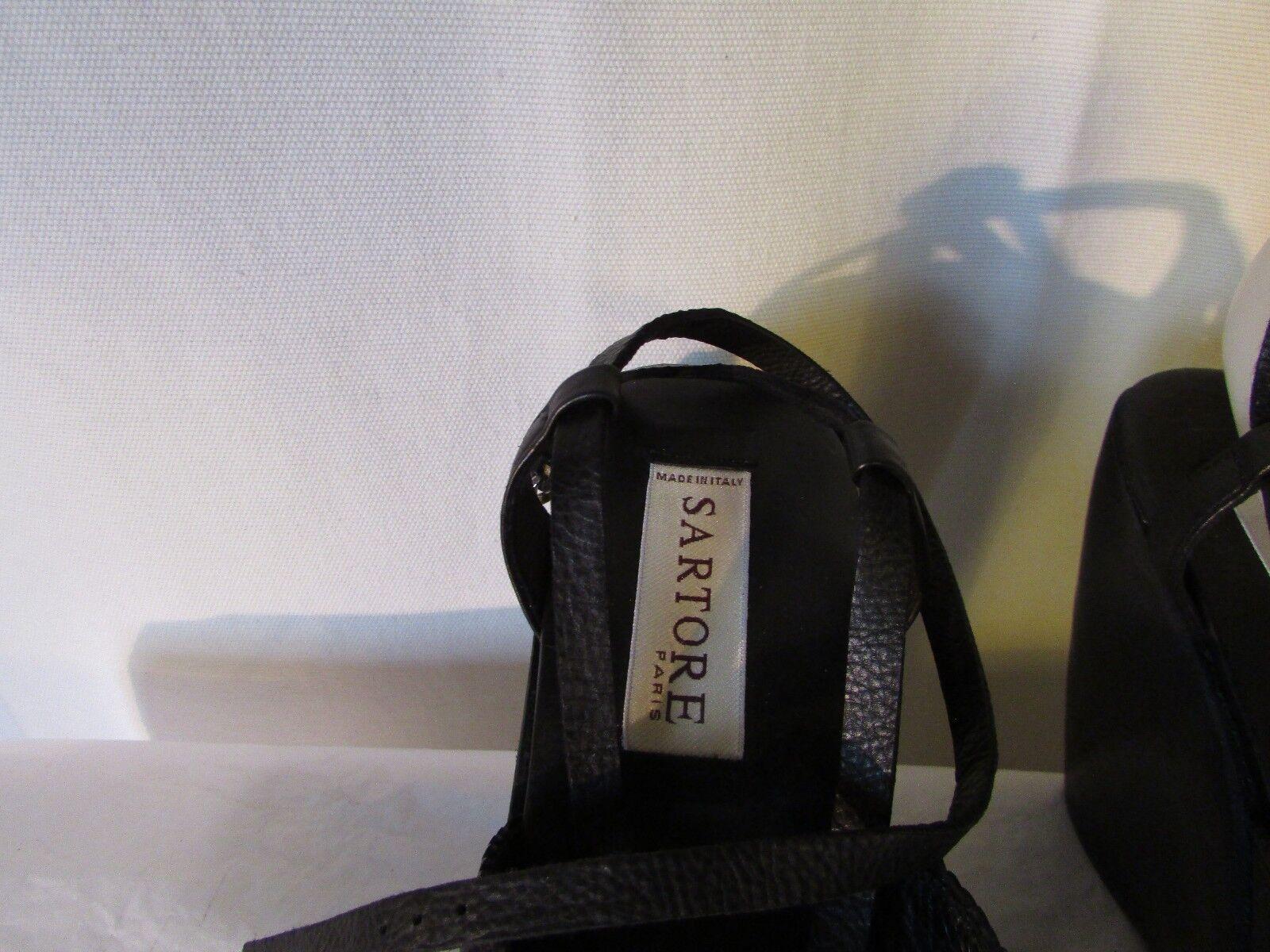 sandales  compensées SARTORE cuir cuir cuir noir et métal 39 25ac3f