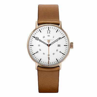 NEW Bronze 39mm watch with natural leather band by Mister Wolf