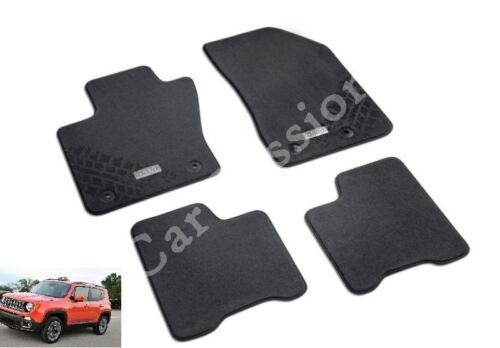 set TAPPETINI JEEP RENEGADE ORIGINALI 4 PZ IN MOQUETTE logo STEMMA NUOVI car mat