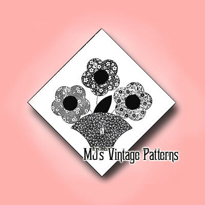 Vintage Quilt Pattern Flower Basket Applique 1940s