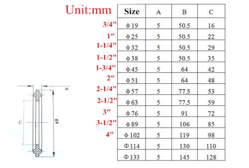 "5pcs 1-1//2/"" Sanitary Tri Clamp OD 50.5mm Silicone Sealing Gasket"