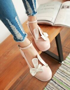 Womens-Sweet-Ankle-strap-Bowknot-Lolita-Mary-Jane-Block-Heel-Pumps-Casual-Shoes