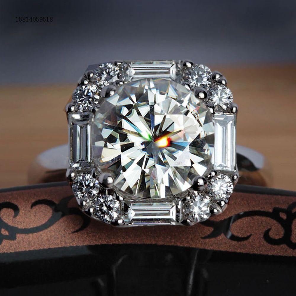 2.35 Ct Round Cut Halo Moissanite Engagement Wedding Ring In 14k White gold