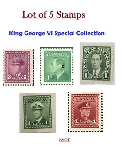Lot-of-5-Stamps-King-George-VI-Edition-1937-1945-1950-Canada-Stamp-War-MNH-VF