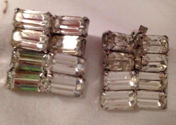 VTG 50s Weiss Baguette Cut Glass Square Shape Clip Earrings Bridal Jewelry