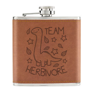 Equipe-Herbivore-Dinosaure-170ml-Cuir-PU-Hip-Flasque-Fauve-Vegetarien-Blague