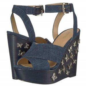 cb5d77c4a2 Image is loading MICHAEL-Michael-Kors-Lacey-Wedge-Sandals-Jeans-Denim-
