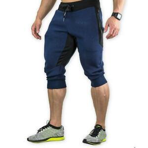Mens-3-4-Joggers-Pants-Sweatpants-Bodybuilding-Capri-Shorts-Gym-Workout-Fitness