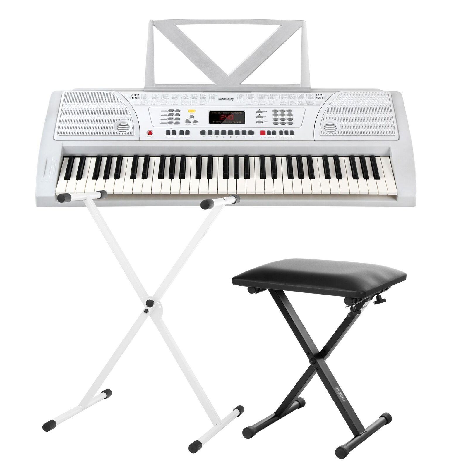 Elegante bianca Digital Keyboard 61 tasti Alimentatore nel Set KEYBOARD Supporto + SGABELLO