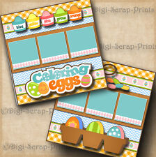 COLORING EASTER EGGS ~ 2 premade SCRAPBOOK pages paper piecing layout DIGISCRAP