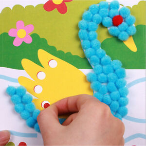 1X-Baby-Plush-Ball-Painting-Sticker-Educational-Material-Cartoon-Puzzle-Craft-NT