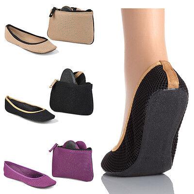 SideKicks Womans Mesh Fold-able Ballerina SLIP ON Flats with carry Bag