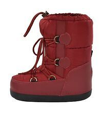Moncler Red Leather Quilted Nylon Winter Snow Moon Boots 35/36/37 New $430