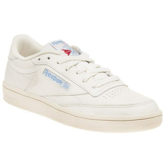New Womens Reebok White Natural Club C 85 Vintage Leather Trainers Court Lace Up