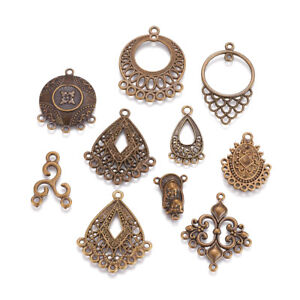 100pcs Random Tibetan Alloy Filigree Chandelier Findings Antique Bronze 9~46mm
