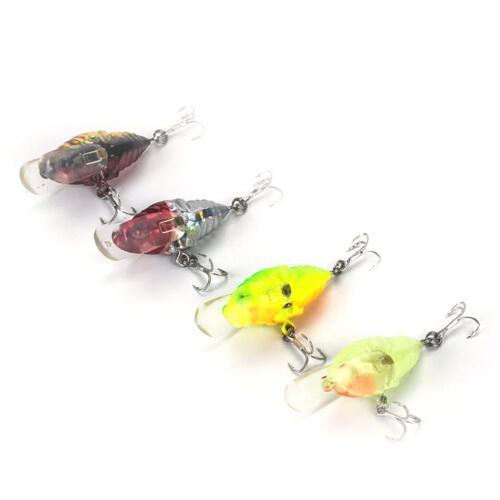 1 stücke Zikade Bass Insekt Angelköder 4 cm Kurbel Köder Schwimmdock/_w