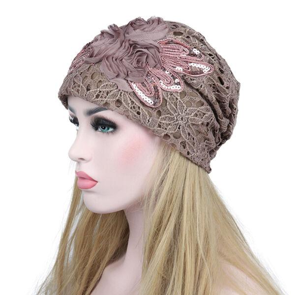 d77821209f5 Chic Soft Warm Winter Chiffon Lace Flower Beanie Hat Baggy Cap Khaki Gray  Black