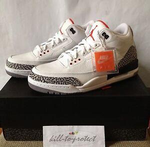Air Jordan Retro 3 Ciment Blanc Ebay Uk