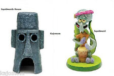 SpongeBob SQUIDWARD &  SQUIDWARDS HOUSE Aquarium Decoration Ornament 2 Piece