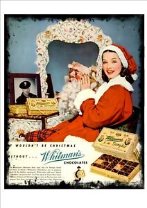 Whitman Chocolate Christmas Vintage Advertising Sign Reproduction