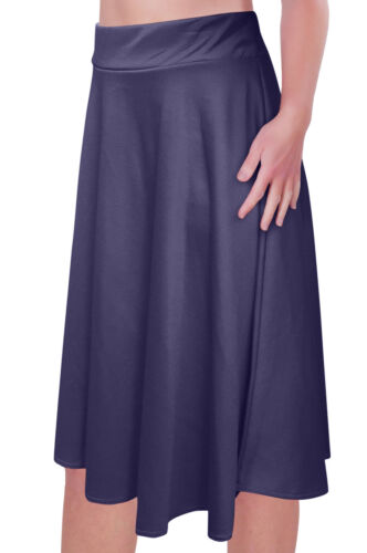 Knee Length Plain Skater Flared Skirt Plus Size Womens Skirts Elastic Waist