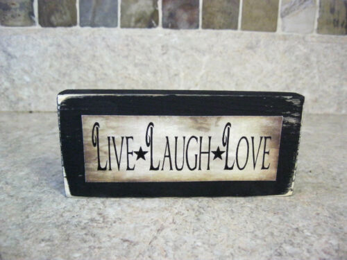 Four Different Sayings Primitive Distressed Wooden Sign Shelf Sitter Blocks