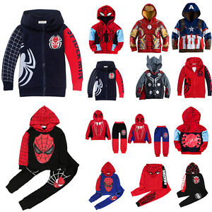 Kids-Boys-Superhero-Spiderman-Hoodie-Sweatshirt-Coat-Jacket-Tracksuit-Clothes