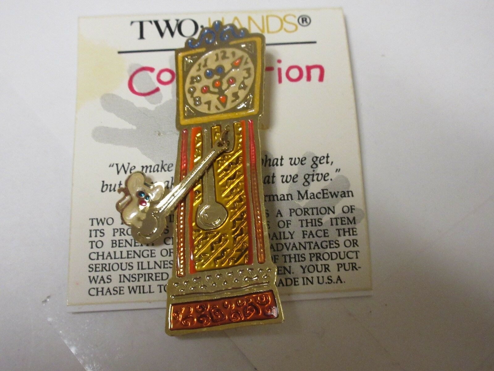 Costume Jewelry , Two Hands Collections , Clock Pin , P